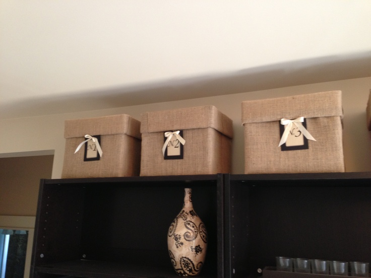 Printer Paper Boxes Wrapped In Burlap