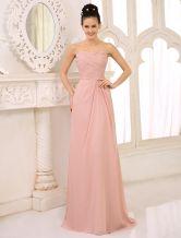 Vestido de damas de honor de chifón con escote palabra de honor - Milanoo.com