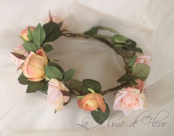 Peaches and cream Silk flower crown hair by LaPlumeDeFleur