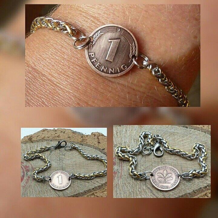 www.muenzenring.de Heute haben wir einen Kundenauftrag ausgeführt. Ein Glückspfennig-Armband in Bicolor-Armband #bicolor #armreif #armschmuck #armband #kette #breclet #brecelet #necklaces #medallion #pfennig #chic #clam #eyecatcher #glücklich #glück #fashion #beauty #coin #coinring #brd #deutschemark #deutschland #style #kundenwünsche #auftrag