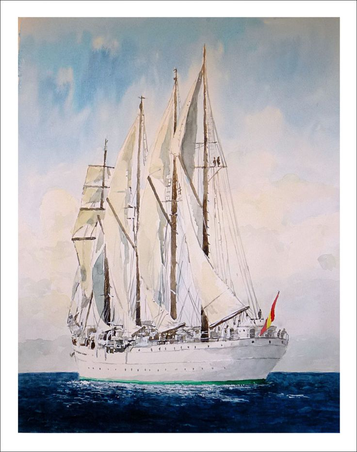 Cuadro del barco Juan Sebastián Elcano pintado en acuarela de este barco tan famoso realizado por el artista Rubén de Luis.