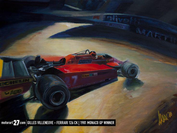 Gilles Villeneuve on his way to victory at Monaco 1981 in his Ferrari 126C turbo.  #Ferrari #F1 #Villeneuve #Monaco #Originalartwork #oiloncanvas #motorart27 #LaRascasse #Rascasse #MonteCarlo #AlexWakefieldFineArt #F1Art #carart #Canada