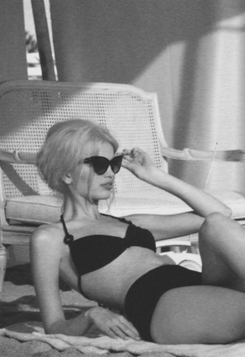 old school looking bathing suit and glasses, Bridget bardot look !