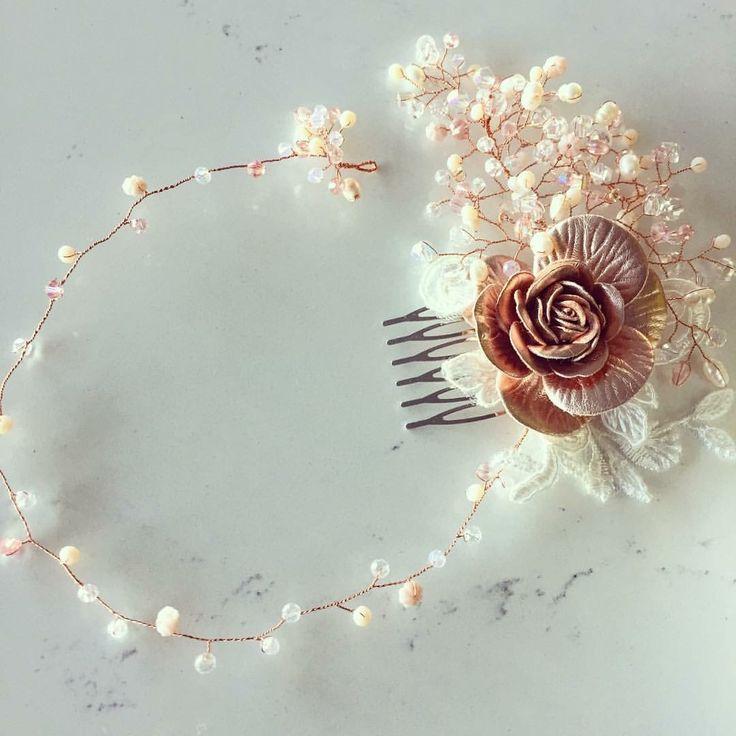 Tocado para novia, dama de honor o toda ocasión, tono rosa cuarzo y oro rosado. bride, bridesmaids, headpiece, hand made, pink quartz   https://www.facebook.com/NABIFashion/