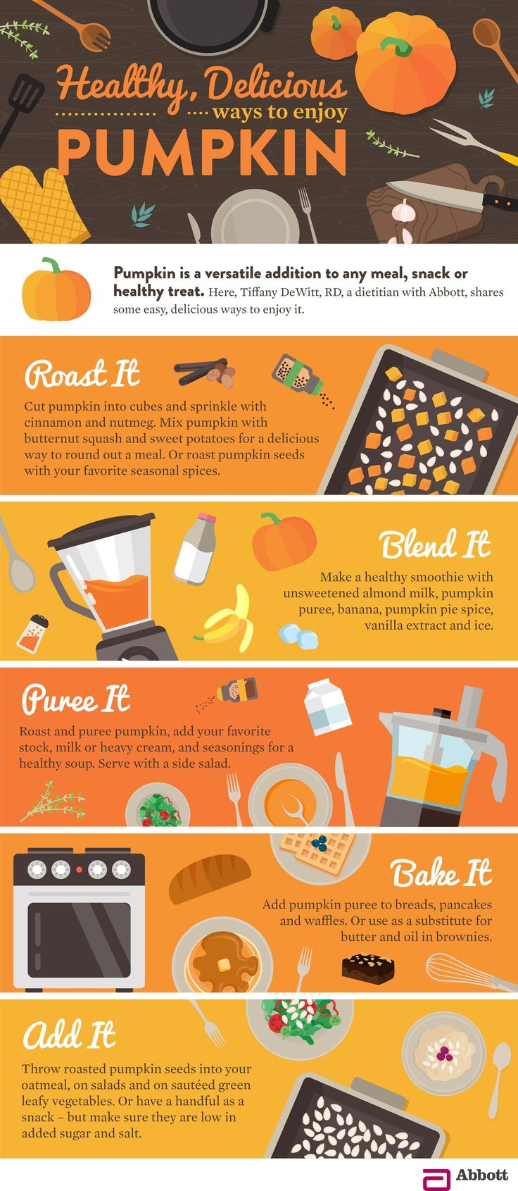 Pumpkin is a vegetable we generally only think about but once a year – bringing with it the sweet, comforting aroma of warm pumpkin lattes, pumpkin breads and pumpkin pie. In this infographic by Abbott, discover six surprising health benefits of pumpkin andfive simple ways to enjoy both the flesh and the seeds.