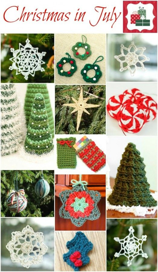 Christmas in July!! Crochet up a bunch of these holiday classics and get a jump on your Christmas decorations and gifts!