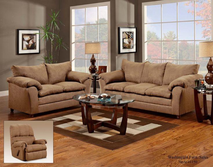 1150 Flatsuede Taupe Sofa Loveseat