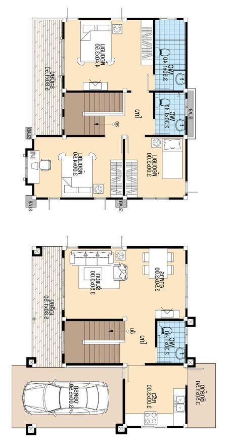 8x8 Bedroom Design: House Design 8.8x8.5 With 3 Bedrooms In 2020