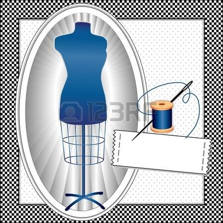 Modella, sarti blu zaffiro femminile manichino vestito forma in cornice ovale, ago e filo, cucire un'etichetta con copia spazio, telaio nero controllo gingham modello, fondo a pois photo
