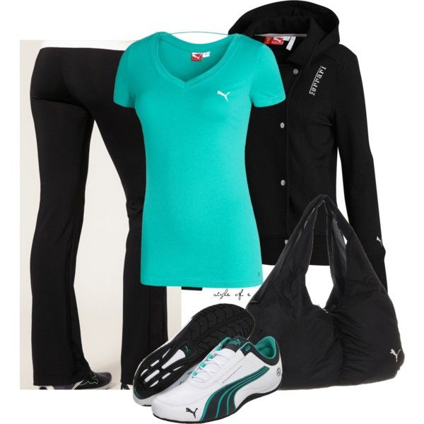 Outfit: Fashion, Style, Workout Clothing, Cute Workout Outfits, Workout Gear, Gym Outfits, Work Outfits, Pumas, Sporty Outfits