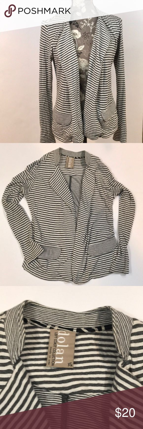"Anthropologie Dolan Left Coast Striped Blazer Adorable Anthropologie Dolan Left Coast Collection Striped Blazer size XS. Great preloved condition. Super soft 50% cotton and 50% rayon gray striped open blazer. Cute with jeans. Approximately 17"" from underarm to underarm and 24"" long. Some minor wear. Anthropologie Jackets & Coats Blazers"