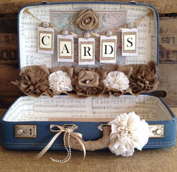 ON SALE.....Regular Price $199....Sale Price $175  This card box is a rugged vintage suitcase that measures approx. 21 x 14.5 x 6.5 and is approx. 3 1/2 deep when opened. Place this case on your gift table to hold cards that your guests bring to your wedding. On the outside, we have add a band of burlap and a handmade burlap flower with a vintage inspired button in the center. The handle has been wrapped in burlap, a strand of pearls a bow and a handmade off white cotton flower.    We ha...