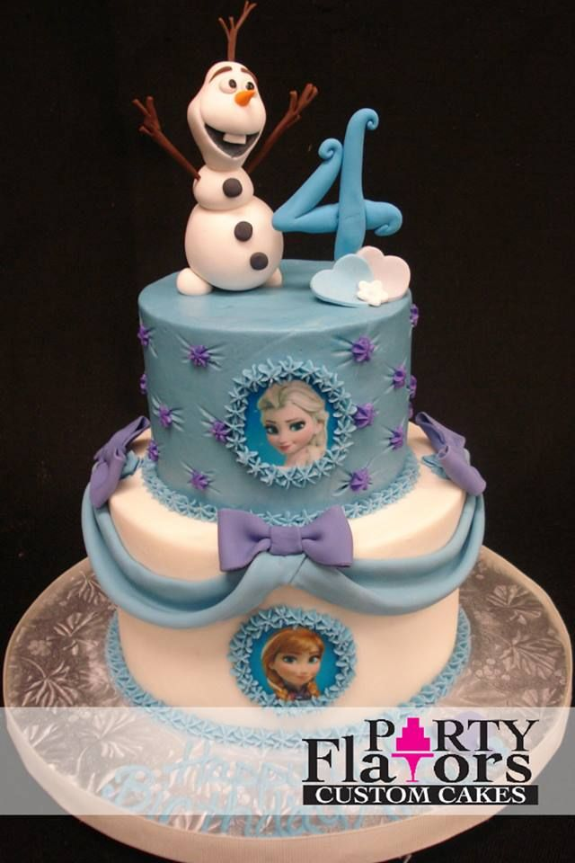 Fabulous Frozen Inspired Birthday Cake With Hand Crafted Sugar Figures By Party Flavors Custom Cakes Orlando FL Wedding