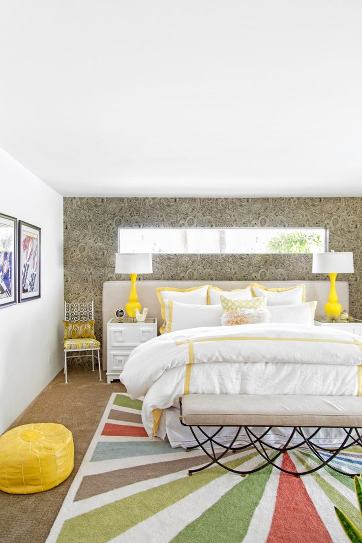 Interior design home tour palm springs - Web Jeff Mindell For Palm Springs Style Bedroom Yellowbeautiful Bedroomshome Tourslake