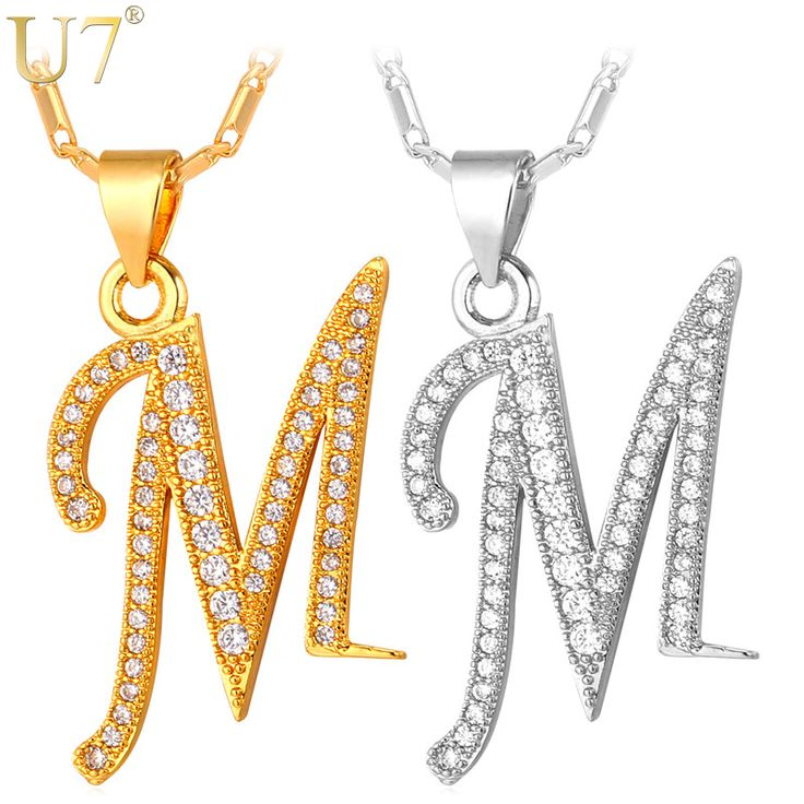 U7 Brand Capital Initial M Letter Pendant & Chain For Men/Women Charm Jewelry Fashion Gold Plated CZ Alphabet Hot Necklace P706
