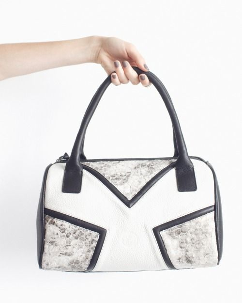 DAMAGED DUCHESS' Ivory White (Leather Bowling Bag) http://shop.damaged-duchess.com/product/dd103