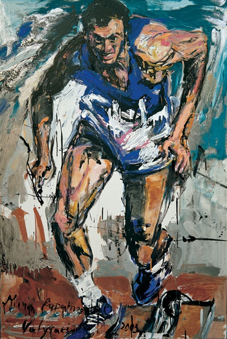 "Homage to Pietro Mennea who passed away recently, the greatest Olympic Champion in 100 meters, the 1st ""white"" athlete in the history of Olympic Games, ""Pietro Mennea"" by Mina Papatheodorou Valyraki, 200X120, acrylic on canvass, front page of his book ""via col vento"""