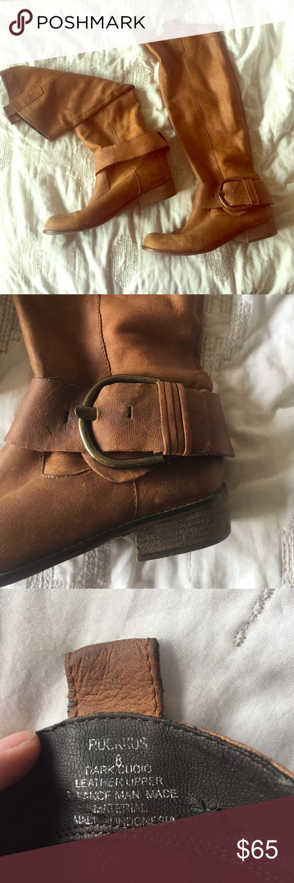 Steve Madden Leather Tall Boots Steve Madden Leather Brown Boots, have been worn quite a bit but still look wonderfully aged! Very soft Leather! Steve Madden Shoes Heeled Boots