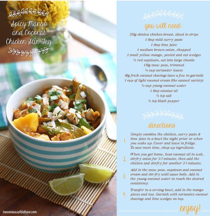 Quick & Easy Chicken Mango Stir Fry - love that it has coconut water in it!