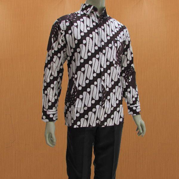 Gambar Batik Lengan Panjang Pria: Model Baju Batik Pria Lengan Panjang Dengan Krah Kemeja