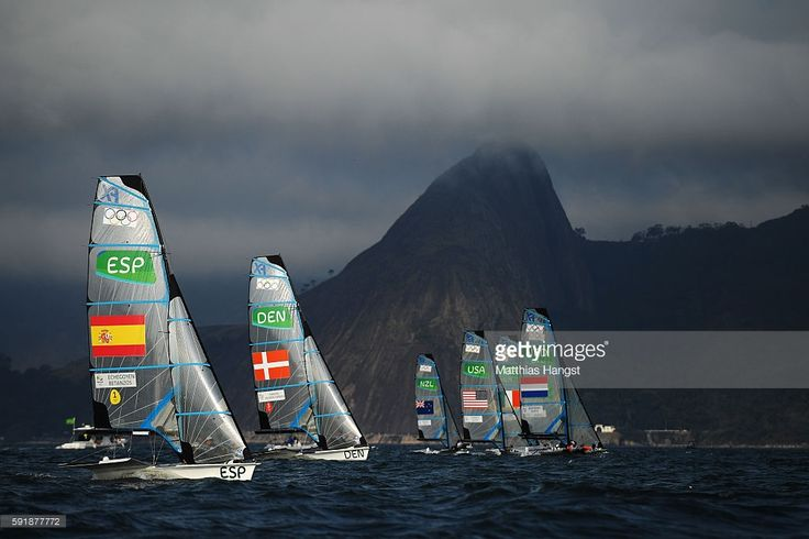 Tamara Echegoyen Dominguez of Spain and Berta Betanzos Moro of Spain take the start of the Women's 49er FX class medal race at the Marina da Gloria on Day 13 of the 2016 Rio Olympic Games on August 18, 2016 in Rio de Janeiro, Brazil.