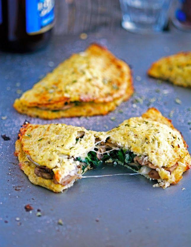 Cheese, Mushroom and Spinach Cauliflower Crust Calzone #TheIronYou