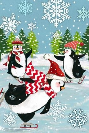 Skating Penguins Blue by Jennifer Brinley | Ruth Levison Design