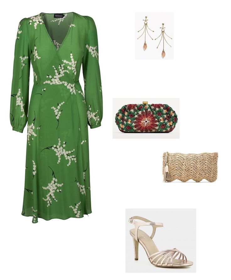 Time for Fashion » New Style Obsession: 'The Violette' Wrap Dress. Green floral print midi dress+golden ankle strap heeled sandals+camel clutch or colorfull sequinned one+long earrings. Summer Semi Formal Event/ Wedding/ Family Lunch/Christening Party/ Guest Outfit 2017