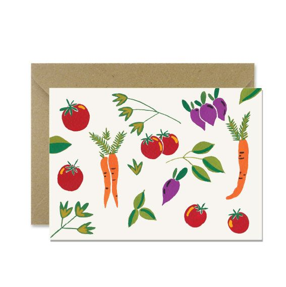 Vegetable pattern greeting card by amylindroos.com on Etsy