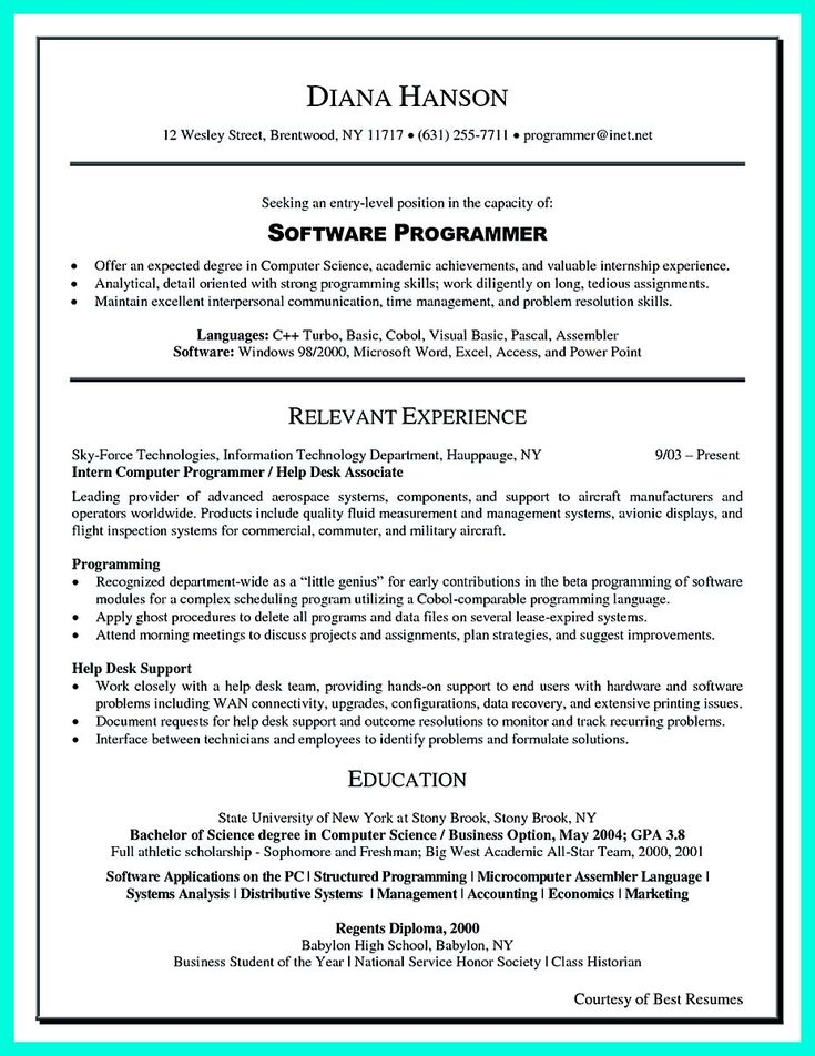 38 best Resumes that Rock images on Pinterest Resume tips - computer science resume sample