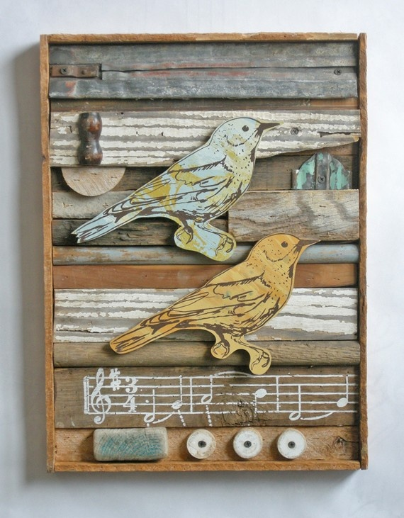 Songbird Collection (Washboard) Original Art Assemblage, Made to Order by dolangeiman - Esty $450.