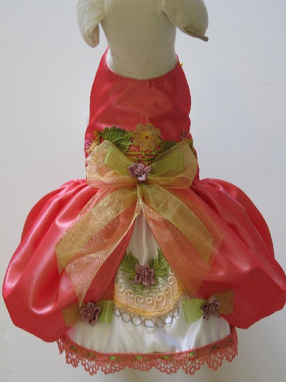 Coral Victorian Dog Dress by FantasyPupFashions on Etsy, $52.00