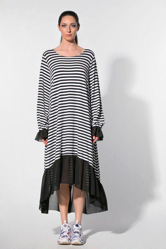 Black and White Dress, Striped Dress, Plus Size Maxi Dress ...