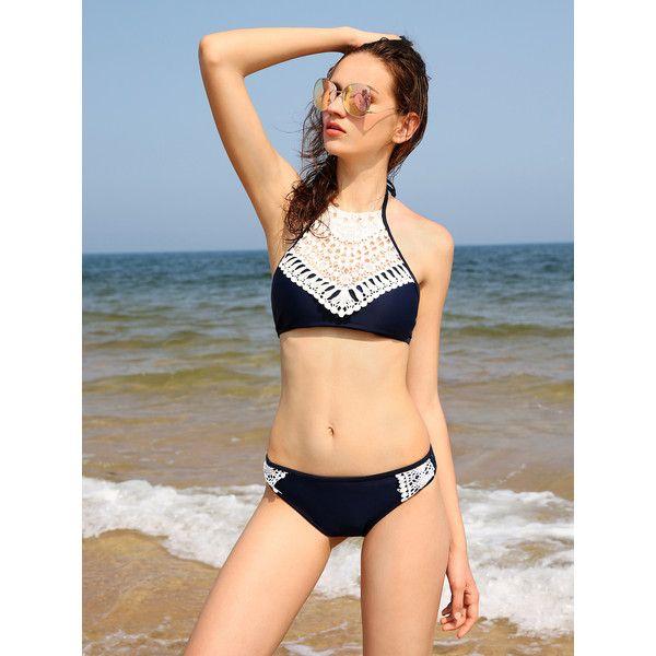 SheIn(sheinside) Contrast Crochet Halter Bikini Set ($12) ❤ liked on Polyvore featuring swimwear, bikinis, navy, macrame halter top, crochet bikini, sexy halter tops, navy bikini and halter bikini tops