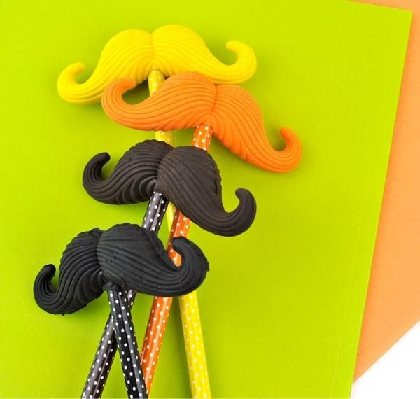 Mustache Eraser and Wooden Pencil