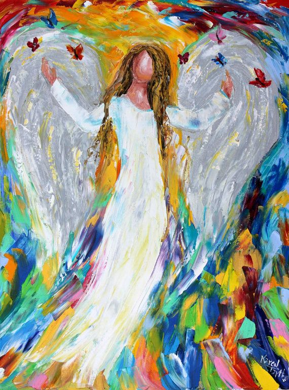 "Karen's Fine Art Angel painting – Gallery Represented Modern Impressionism in oils Title: Angel and Butterflies Original oil painting by Karen Tarlton Size: 18""x 24"""