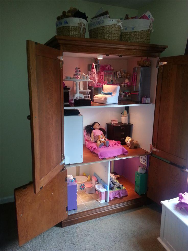AG dollhouse, 18 inch doll house, doll house armoire