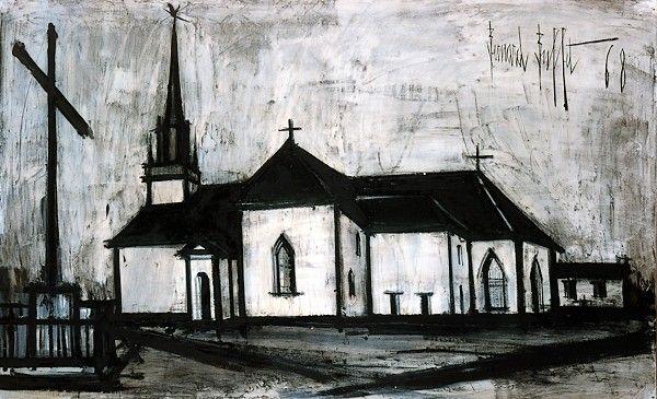 Bernard BUFFET ( 1928 - 1999 ) - Peintre Francais - French Painter Église de Clohars Carnoet