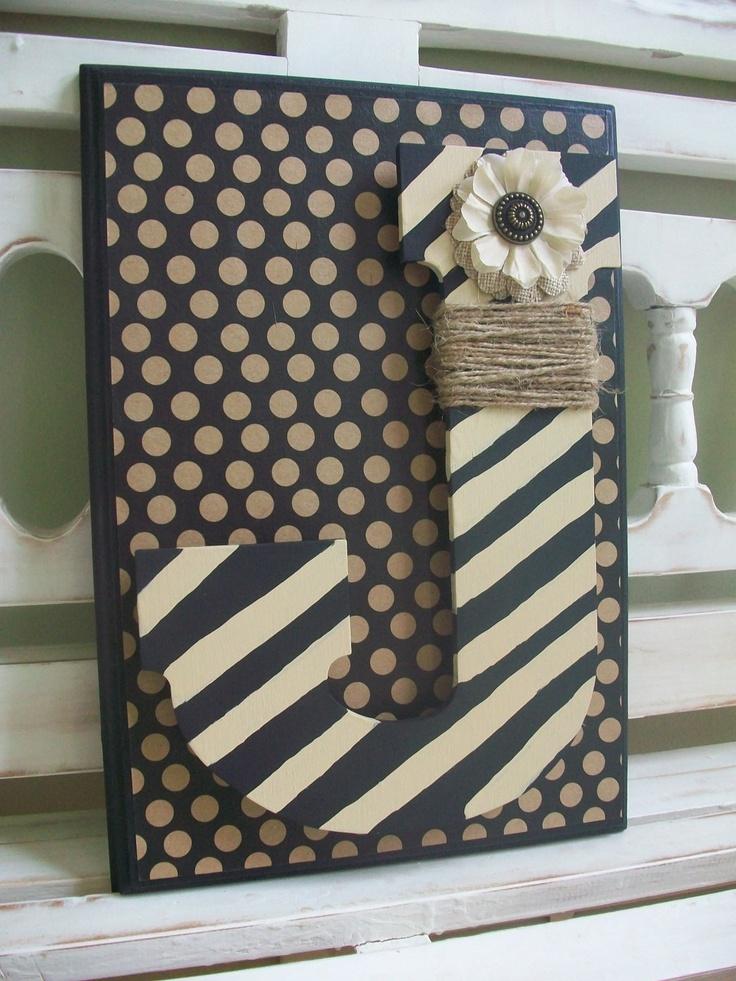 Monogram Wall Mantle Plaque Custom Initial Wedding by DippityDaisy
