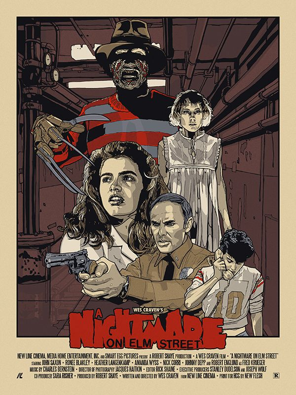 "'A Nightmare On Elm Street' by New Flesh, part of the 'Quattro 2' art exhibition at Hero Complex Gallery. 18"" x 24"" screen print in a limited edition of 50 for $45. Go here to buy."