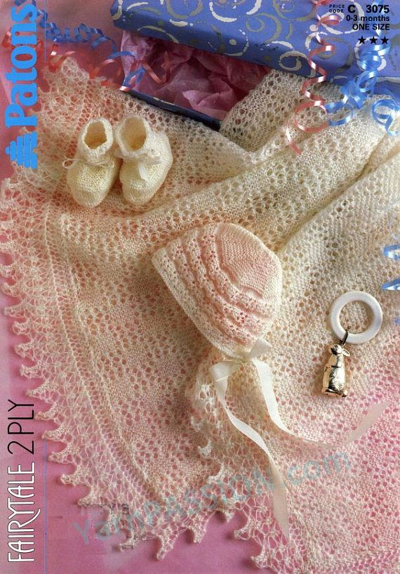 Vintage Patons Fairytale Bonnet Booties and Blanket 1987
