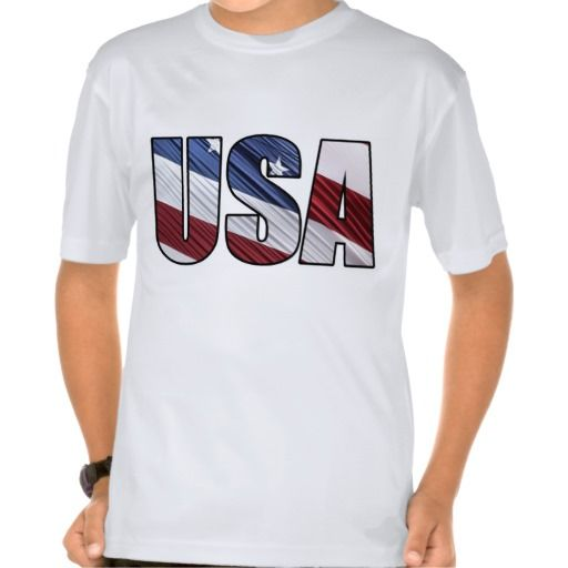 USA in Red White and Blue American Patriotic Flag Tees