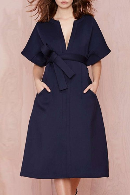 V-Neck Solid Color Belt Short Sleeve Dress BLUE: Dresses 2015 | ZAFUL