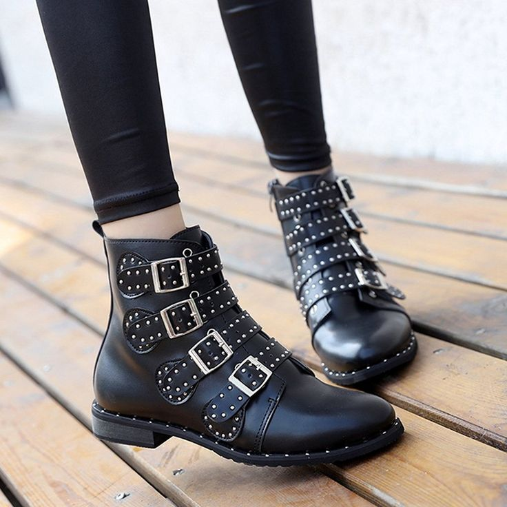 Womens Stylish Round Toe Studded Rivets Belt Elastic Low Heel Ankle Boots Black Boots
