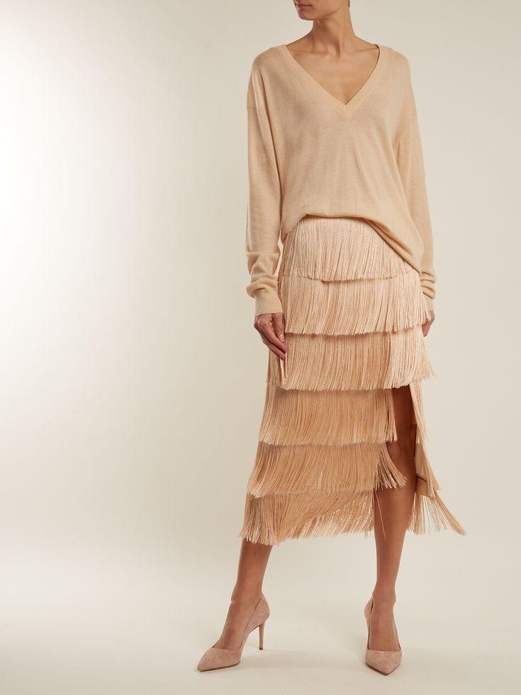 Slit-front fringed silk midi skirt | Raey