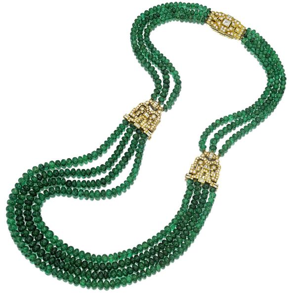*An emerald and diamond necklace, French designed as three graduated rows of emerald beads, measuring approximately 4.10 to 6.45mm., joined by circular and baguette-cut geometric plaques; diamond elements with French assay and maker's marks; estimated total diamond weight: 5.00 carats; mounted in eighteen karat gold; length: 22in.