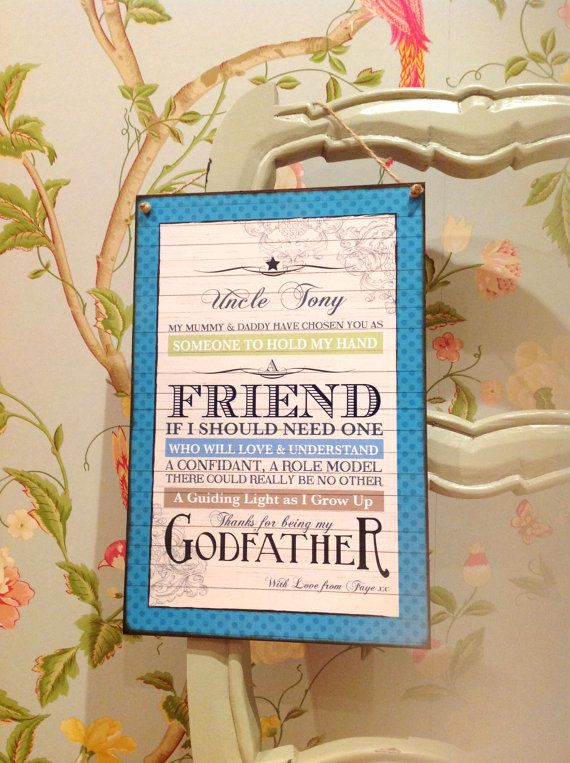 Godfather Gift Godmother Gift Godparent Gift by SugarPrintFairy