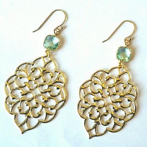 Gold Bohemian Erinite Chandelier Earrings | MIA ELLIOTT      15.00