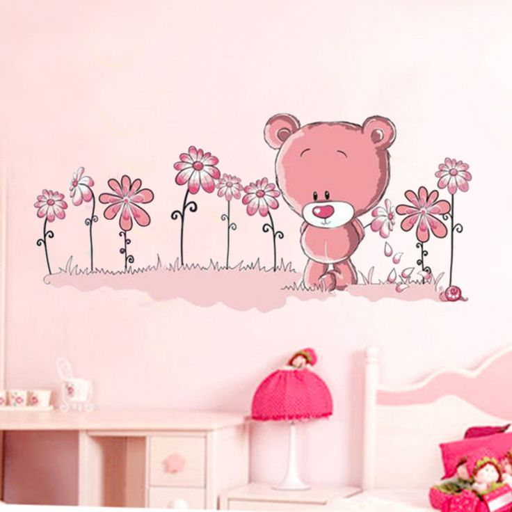 Pink Teddy Bear Wall Stickers