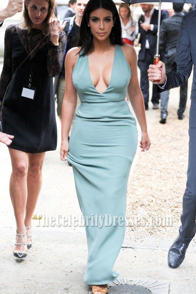 Kim Kardashian Sexy Deep V-Neck Floor Length Evening Dresses - TheCelebrityDresses